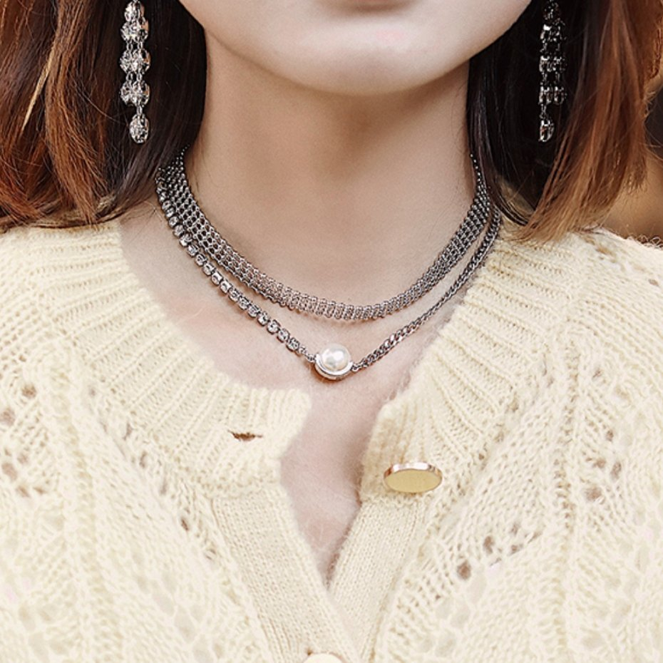 Abyb Flash Pearl Double Layer Necklace V1