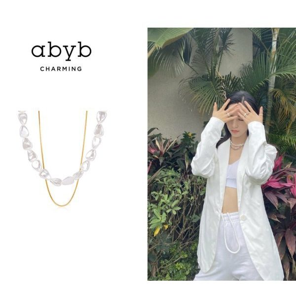 Abyb Triangle Pearl Double Stacking Neck Chain V5
