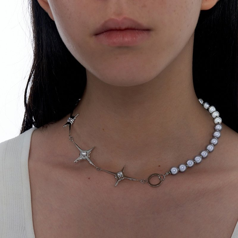 Kvk Stitch Orb Clavicle Necklace V6