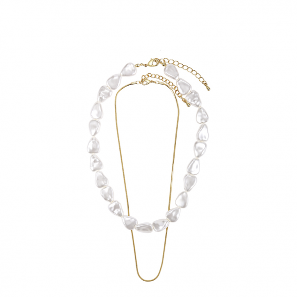 ABYB Triangle Pearl Double Stacking Neck Chain