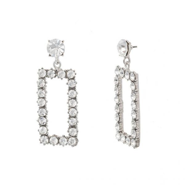 ABYB Sparkling Diamond Rectangle Earrings