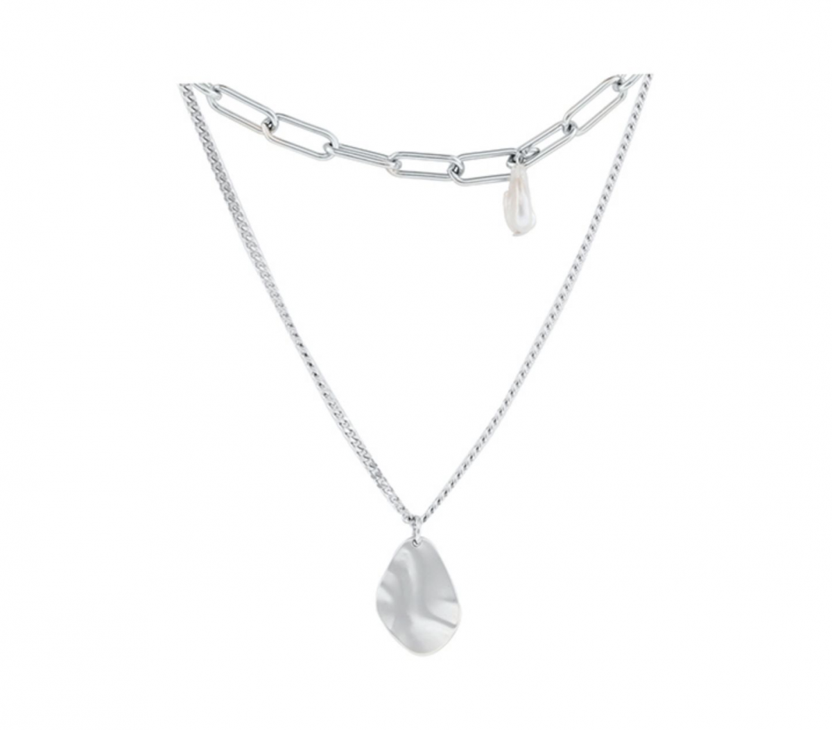 """""""Lost"""" Double Thick Chain Stack Pearl Choker Necklace"""