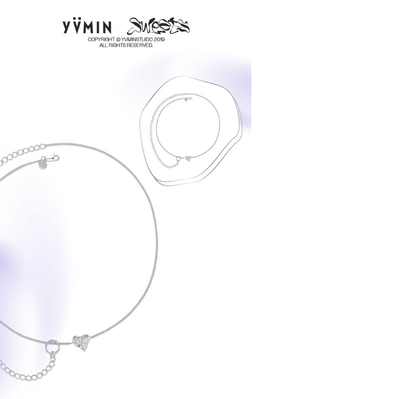 Yvmin Heart Shaped Double Clavicle Chain V8