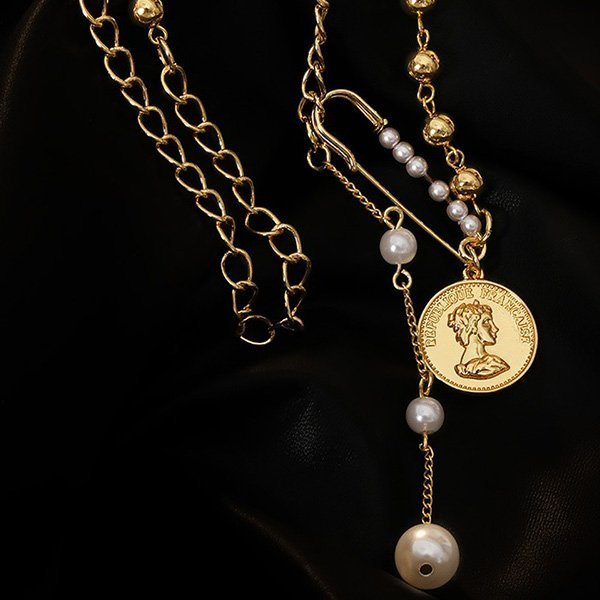 1K20 luxury Tassel Pearl Queen Necklace