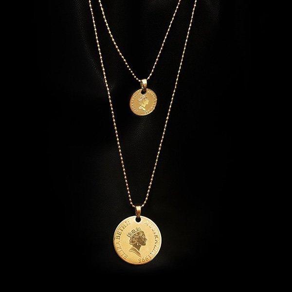 1K20 Medium Long Chain Third-layer Necklace