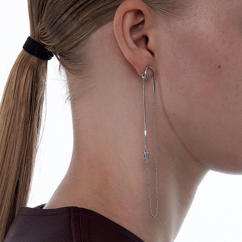 KVK Long Line Diamond Fringe Earrings