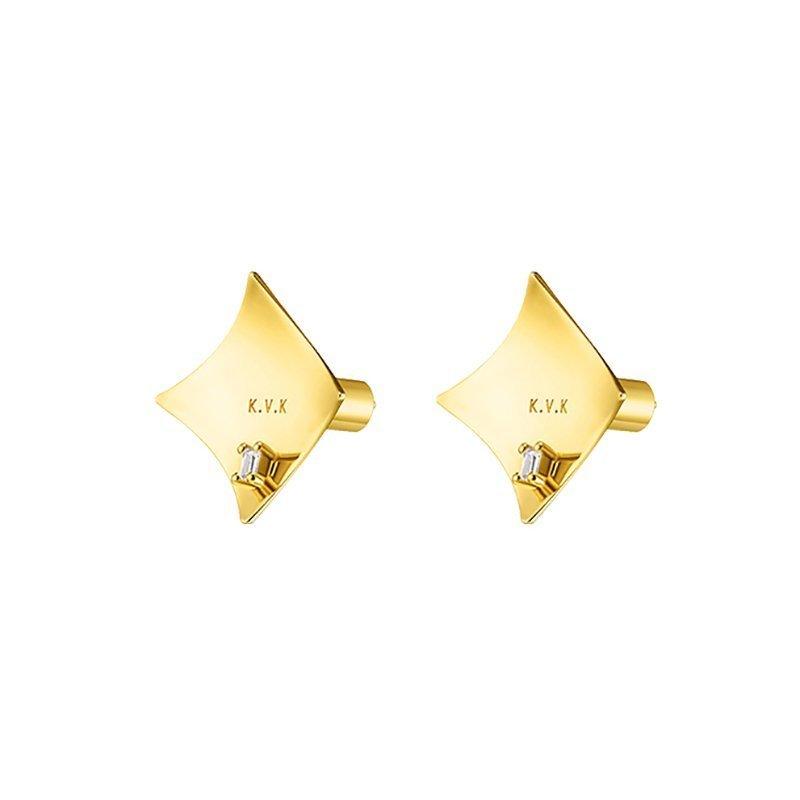 KVK Geometric In-laid Diamond Stud Earrings