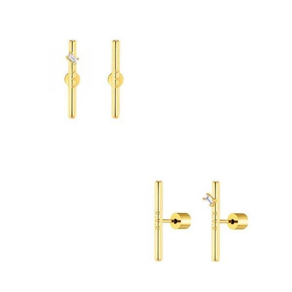 KVK Diamond In-laid Ear Needle Earrings