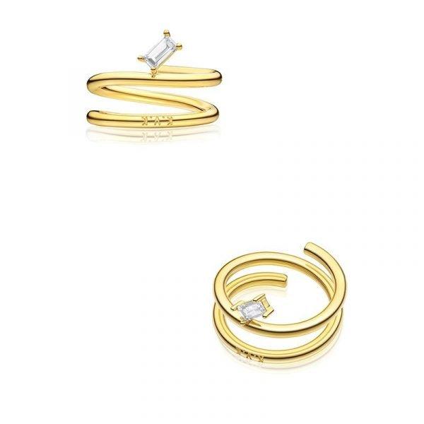 KVK Simple Retro Diamond Tail Ring