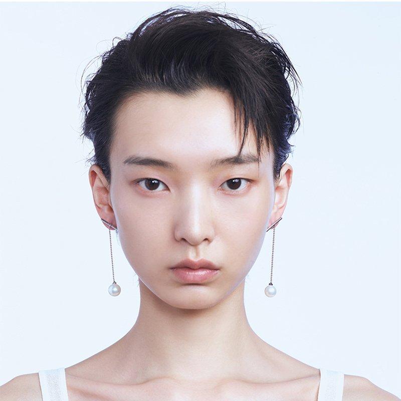 KVK Long Pearl Stud Earrings