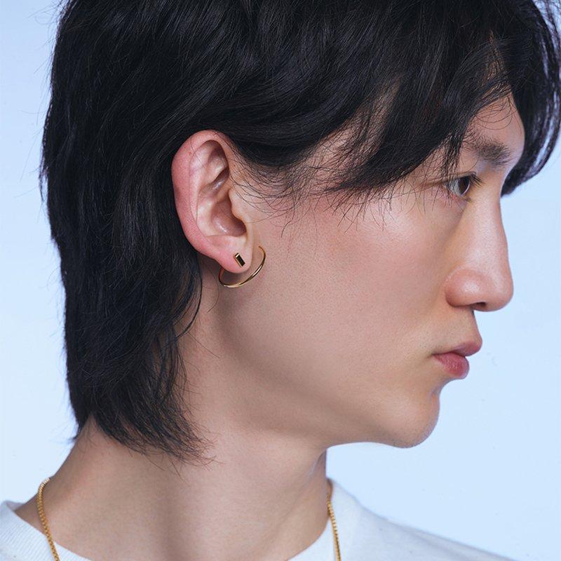KVK Simple Ring Stud Earrings