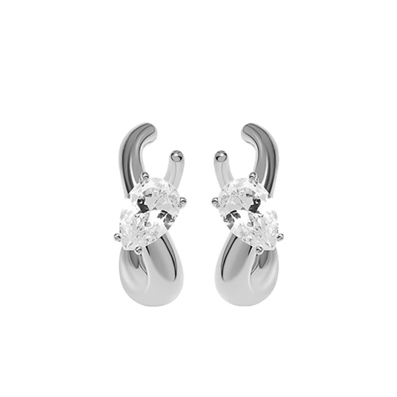 KVK Inlaid Double Diamond Cold Earrings Clip-onKVK Inlaid Double Diamond Cold Earrings Clip-on
