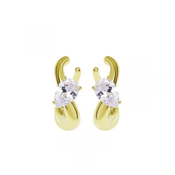 KVK Inlaid Double Diamond Cold Earrings Clip-on