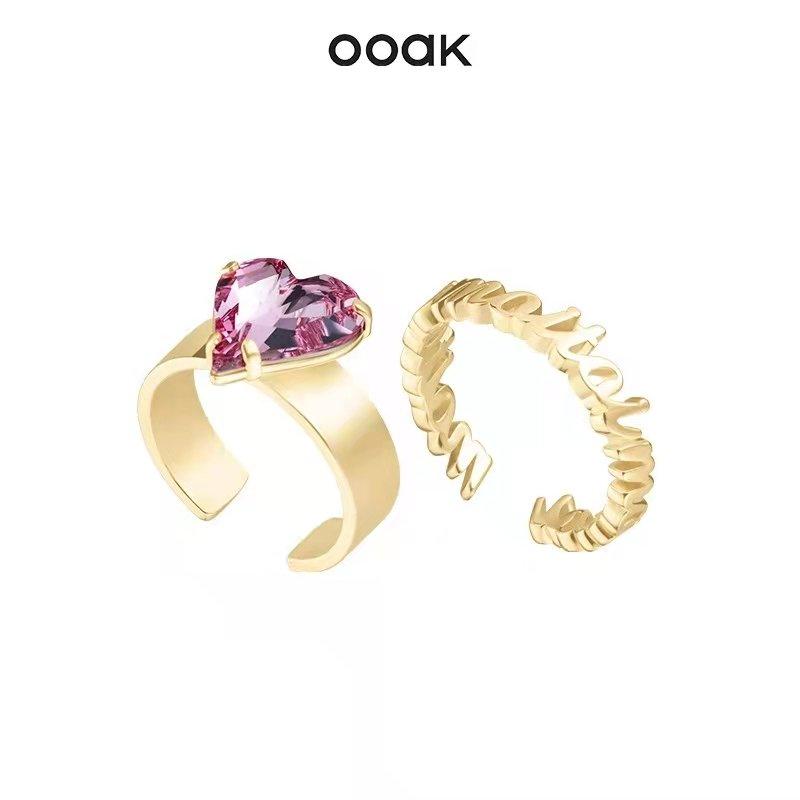 OOAK Love Crystal Bracelet Ring