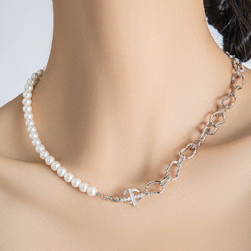 Arsis Pearl Stitch Collarbone Necklace 2